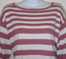 APOSTROPHE Womens S Mauve Pink Striped Sporty Sweater Cotton Blend Long Sleeved