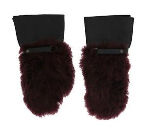 NEW DOLCE & GABBANA Gloves Black Leather Bordeaux Shearling Fur s. 9 / M
