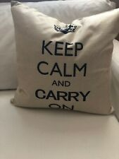 "Shabby ""KEEP CALM AND CARRY ON"" DOWN PILLOW Chic 18x18 New Farmhouse French Barn"
