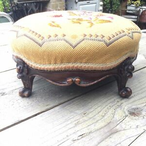 Pretty Victorian Embroidered Round Foot Stool On Carved Mahogany Feet