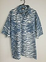 Men's Island Warrior Blue/White Short Sleeve Cotton Shirt Size XL