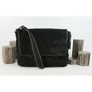 Coach Mens Black Canvas Leather Messenger Computer Bag 70587 EUC