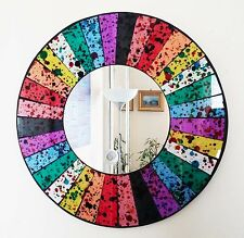 Round rainbow section mosaic wall mirror 40cm-hand made in Bali-NEW