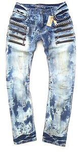 robin's jean MENS MULTI ZIP JOSEF EMBELISHED JEANS 100% AUTHENTIC MADE IN USA