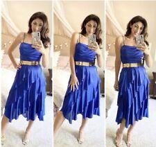 vintage 70s 80s Disco Dress Blue Ruffle Hankerchief Hem New Leaf S