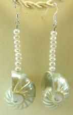 Nautilus Shell Iridescent Pearl Earrings Drop/Dangle Handcrafted Beach Wedding