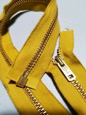 "1-ZIPPER USA VTG ""TALON"" #5 Jacket-SEPARATING Metal BRASS=22.5in/MUSTARD-COTTON"