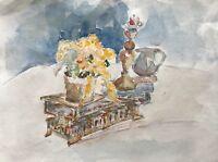Aquarell Impressionist Stillleben mit Blumen, Krug und Kerzenleuchter 40x30 cm