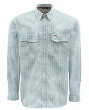 New Simms Classic Transit Long Sleeve Shirt Teal Plaid Size S ___S139