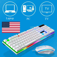 Gaming Keyboard Mouse Set Rainbow LED Wired USB For PC Laptop PS4 Xbox One White