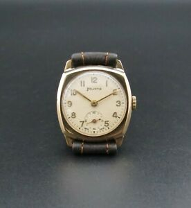 Quality Vintage Solid 9ct Gold HELVETIA Cushion Case Men's Swiss Wristwatch 1951