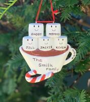 Name Personalized Marshmallow Family Christmas Ornament, Family of 2-3-4-5-6