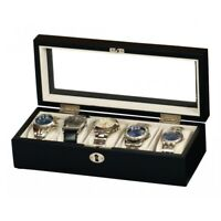GENUINE BLACK SATIN WOOD 5 WATCH DISPLAY BOX CASE BY MELE & Co