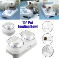 White Pet Cat Food Feeder Clear  With Holder Dog Water Single/Double  *