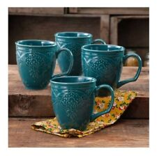 4-pack The Pioneer Woman Farmhouse Elegant Vintage Lace 17oz Mug Set Ocean Teal