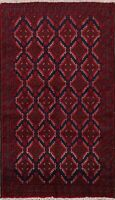 Geometric NAVY/RED Balouch Oriental Area Rug Wool Hand-Knotted Tribal Carpet 3x6