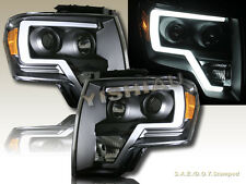 09-14 Ford F150 Pickup 2D/4D Black LED Strip Plank Style Projector Headlights