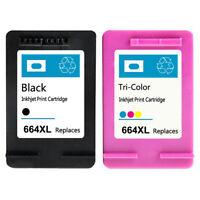 2PK for HP 664XL Black Color Ink Cartridge Show Ink Deskjet 1115 2136 3636 3836