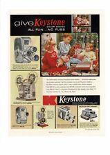 VINTAGE 1957 KEYSTONE MOVIE CAMERA CHRISTMAS GLOVE DOLL KIDS AD PRINT