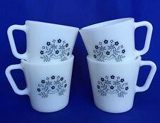 4 Pyrex Summer Impressions Mugs VTG White Navy Blue Flowers Milk Glass Corelle