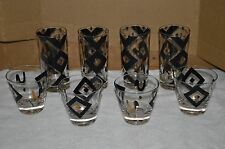 Vtg Mid Century Lot of 8 Fred Press Tumbler Rocks Glass Geometric Design
