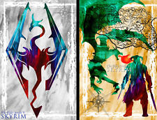 Skyrim Gamer Art 2 print LOT 11 x 17 High Quality Poster