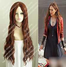 cosplay wig Scarlet Witch Long curly brown hair wig The X-Men Sexy women wig