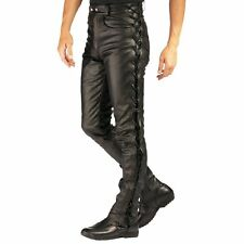 Men's Real Leather Bikers Pants Laces Up Style Pants Biker Trousers +FREE BELT