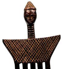 Art Africain - Peigne Anthropomorphe Koulango en Bois - African Comb - 23 Cms