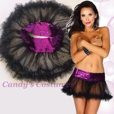 PURPLE Stretch SEQUIN Sparkle BLACK Tulle RUFFLE Petticoat TUTU Mini SKIRT 6-12