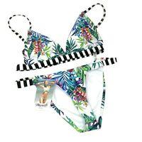 Mapale Women's Size M Two Piece Bikini 6992 White Bali Print Beach Summer