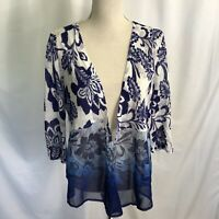 Chico's Prianca Floral Cardigan Open Front Size 1 Medium Blue White