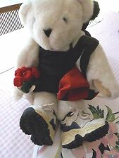 "Vermont 17"" White Teddy Bear Dressed in Workout Clothes with Red Gym Bag"