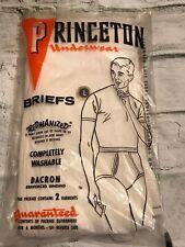 Rare! 1960's Princeton 2Pc Men's Underwear White Briefs Dacron Binding Size L