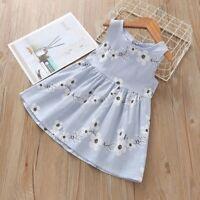 Fashion Baby Kids Girl Summer Sleeveless Flower Print Princess Dresses