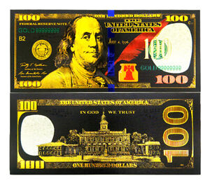 "★ USA : BILLET POLYMER NOIR COULEURS  "" OR "" DU 100 DOLLARS ★ type 2"
