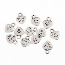 My Cat Word Beads Tibetan Silver Charms Pendant Fit DIY Bracelet 10pcs 11*9mm
