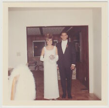 Square Vintage 60s PHOTO Couple In Dressy Prom? Wedding? Event Gloves & Suit