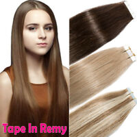 Tape In Remy Virgin Human Hair Extensions 100% Real Skin Weft 100g 40pcs US I807