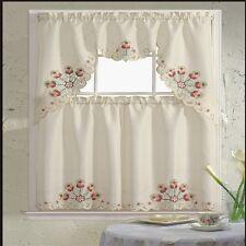 BH Home Floral Embroidered 3-Piece Kitchen Window Curtain Jackie Burgundy