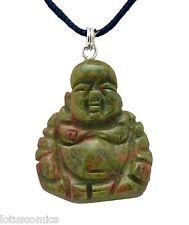 Budai Buddha Green Unakite Gemstone Pendant Hand Carved Stone Necklace