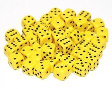 50 jaune dés, 12mm, D6 (6 faces)