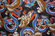 DRAGON TIGER SNAKE FIRE FLAME QUILTING COTTON FABRIC FQ