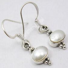 """925 Sterling Silver Fancy FRESH WATER PEARL INDIAN JEWELRY STORE Earrings 1.1"""""""