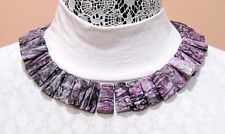 CGI CN  925 STERLING SILVER PURPLE LACY JASPER GEOMETRIC LINK CHAIN NECKLACE