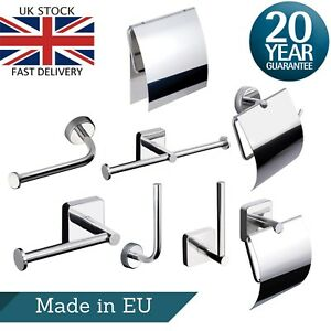 Toilet Roll Holder Round Square Wall Mount Adhesive or Drilling Stainless Steel