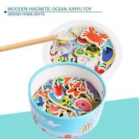 Magnetic Fishing Game Toy Kids Children Wooden Early Learn Toys Educational Y5A4
