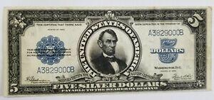1923 Porthole $5 Silver Certificate Washington DC, Crispy, No Pinholes or Tears