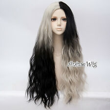 70CM Long Curly Punk Lolita Girl Ombre Black Mixed Blonde Dyed Hair Cosplay Wig