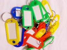 KeyTags Rings Assorted Coloured Plastic ID Luggage Label Name Car Keyringx 50